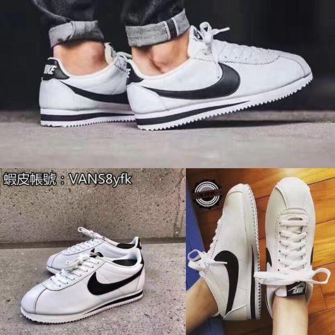 NIKE CLASSIC CORTEZ LEATHER 阿甘鞋皮革 黑白配色男女款休閒鞋