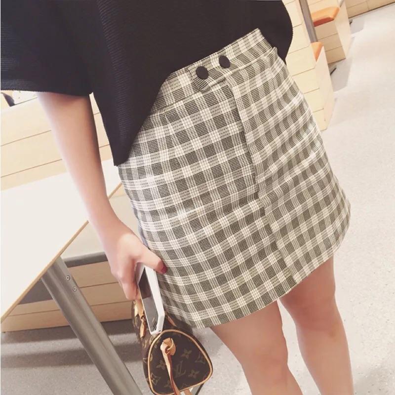 格子高腰緊身包臀A 字裙短裙窄裙半身裙