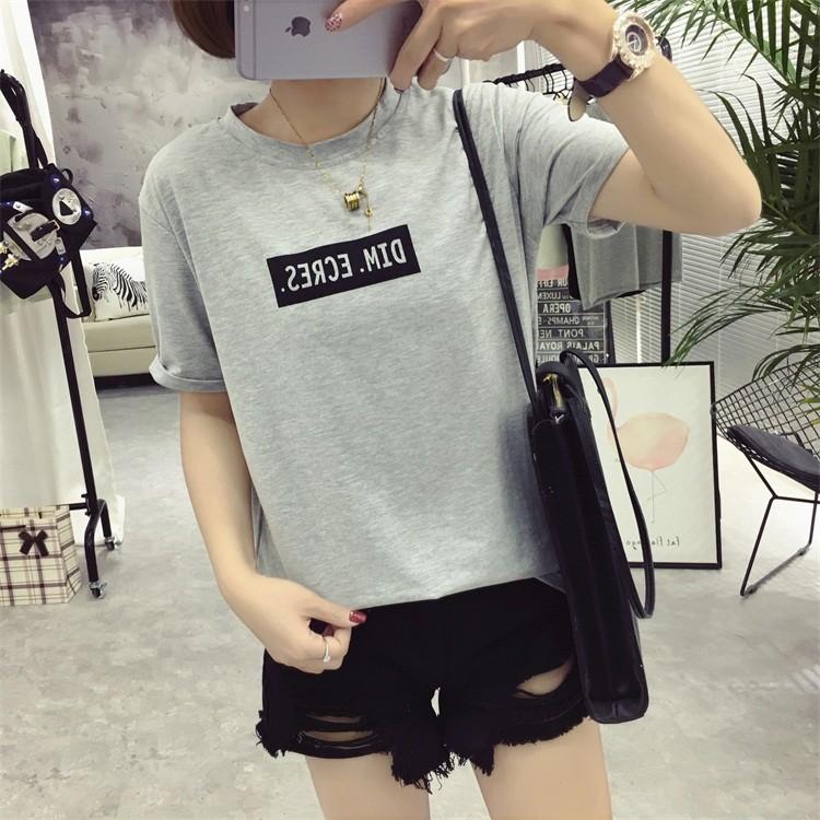 夏天韓國字母印花寬松 短袖T 恤女