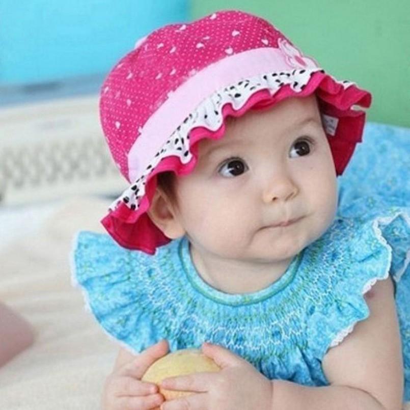 超甜美荷葉邊女寶夏天棉質防曬遮陽帽子