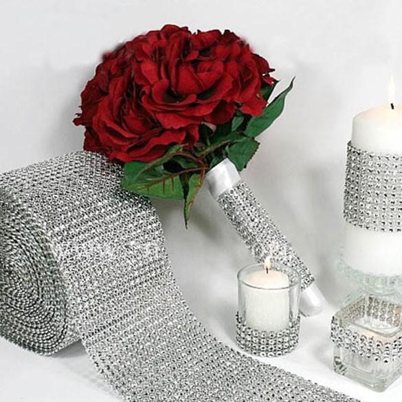 """1 55 """"x30 英尺銀鑽石包裝絲帶婚禮家居裝飾"""