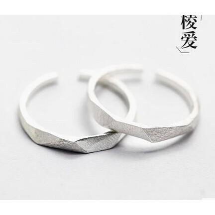 拉絲S925 純銀戒指壹對開口情侶對戒食指指環日韓 尾戒飾品男女