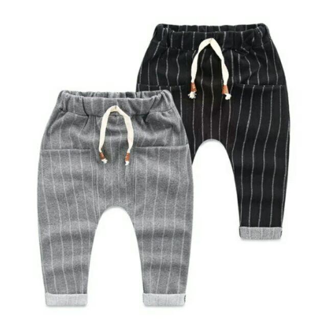 Kid s PANTS 純棉抽繩 條紋休閒褲