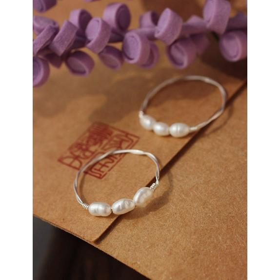 戒指天然淡水珍珠925 純銀戒氣質滿點