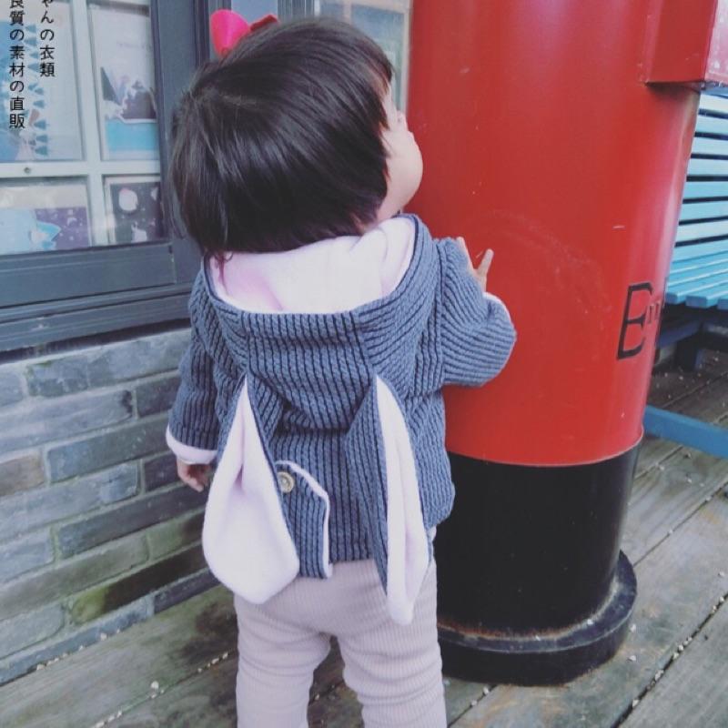 女童男童兒童寶寶小童坑條紋可愛兔子耳朵拼接配色刷毛加絨加厚長袖連帽外套毛粒絨