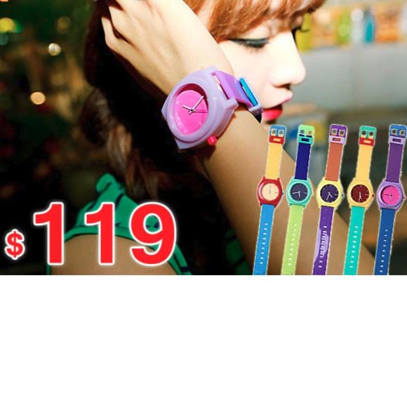 撞色潮流錶韓流繽紛馬卡龍色系手錶果凍錶糖果色中性錶情侶錶對錶兒童錶B214