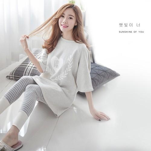 優雅氣質寬鬆家居服飾彈力柔軟舒適睡衣套裝居家服莫代爾棉質睡衣