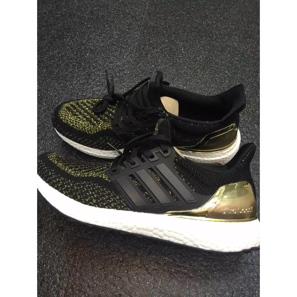 Adidas Ultra Boost ub 爆米花電鍍黑金男女緩震跑步鞋 慢跑鞋