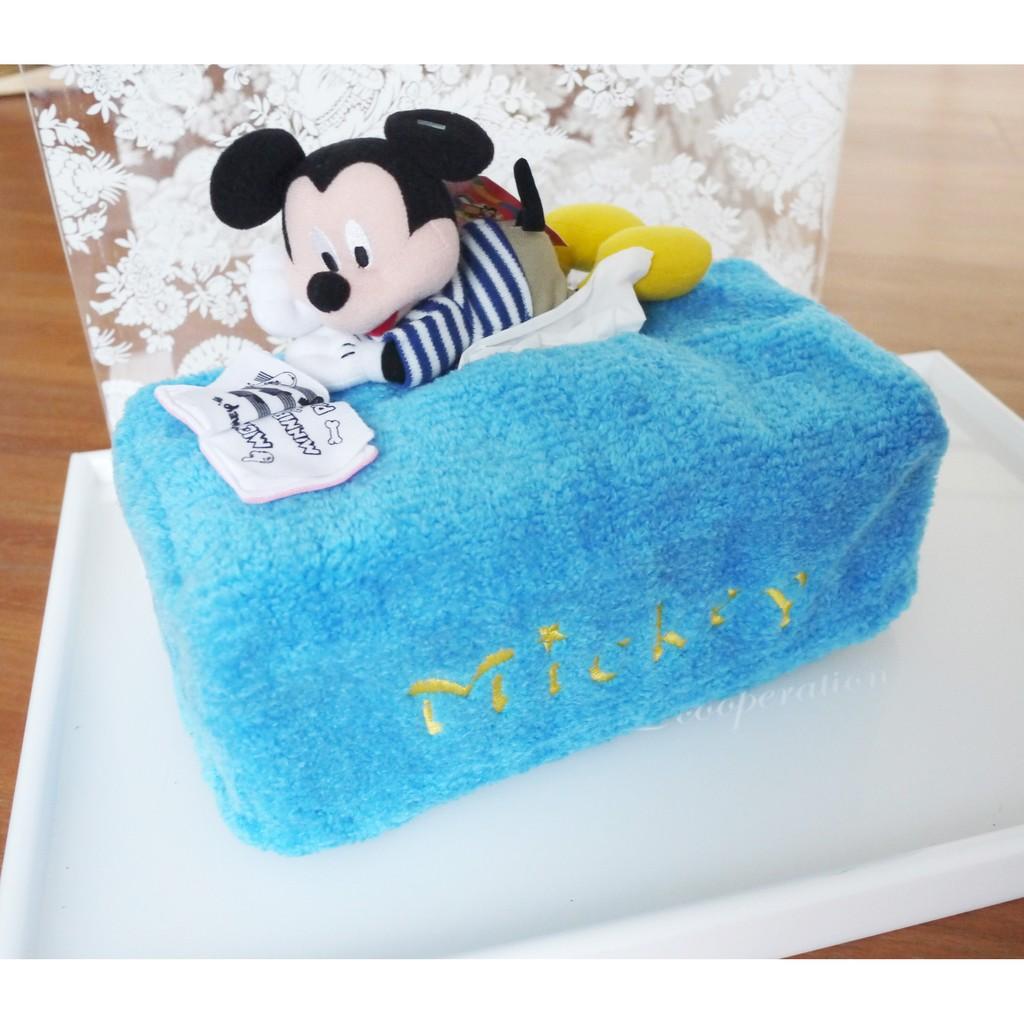 ~ ~Disney 迪士尼 面紙套絨毛天藍米奇看書面紙套