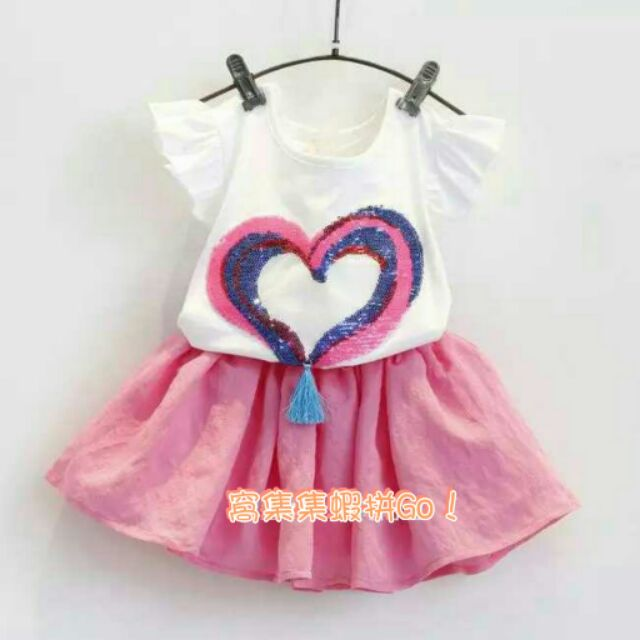 女童2016  兒童可愛愛心短袖T 恤粉色短裙兩件套裝