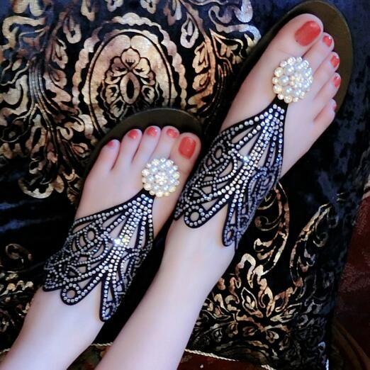 妖嬈潮流衣飾2016  羅馬夾趾涼鞋女式 水鑽平跟真皮平底夾腳沙灘女鞋