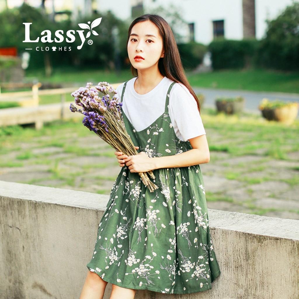 0123 ~預現~春夏森林系雛菊花吊帶連衣裙Lassy 日韓小舖❤