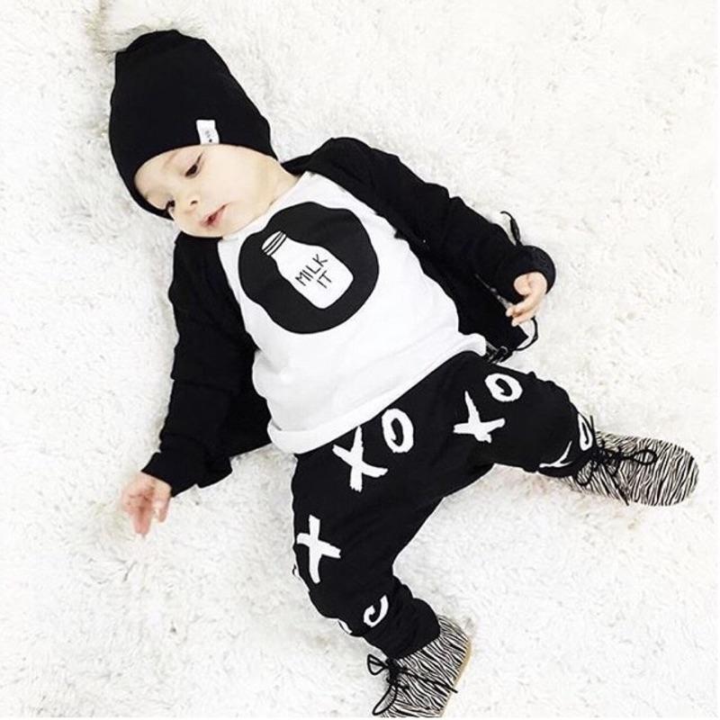 曈曈Baby 外貿童套裝ox 純棉小童奶瓶印花套裝ins 純棉幼童套裝