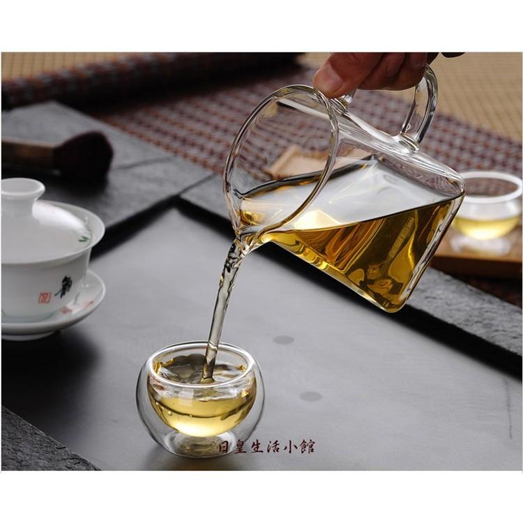 ~日皇二館~純 耐高溫玻璃公道杯茶具 方形玻璃茶海玻璃茶具分茶器300ML
