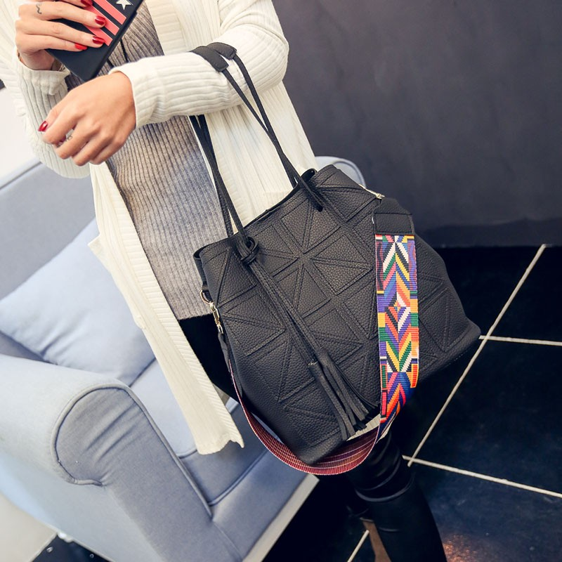 幾何拼接子母水桶包女包2016  手提包單肩包斜挎包