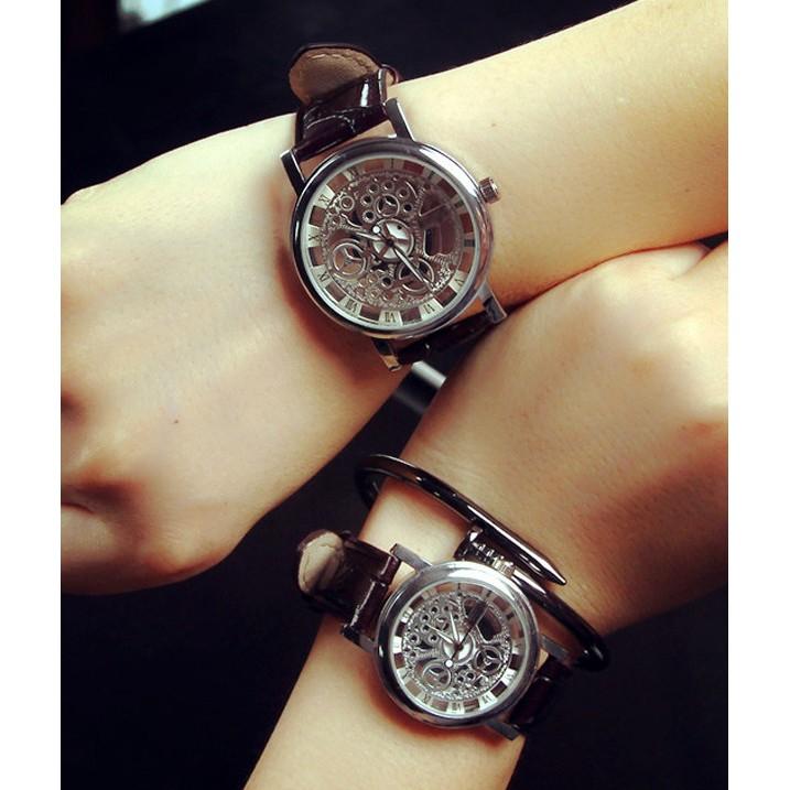 韓國皮革錶帶簍空裱框 皮帶手錶~SB081002 ~