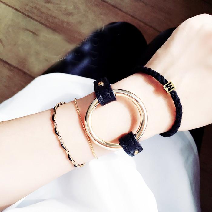 Z17 ✨皮帶扣針圓環皮手鏈簡約百搭文藝 裝飾復古手鏈 學生 飾品手環圓環