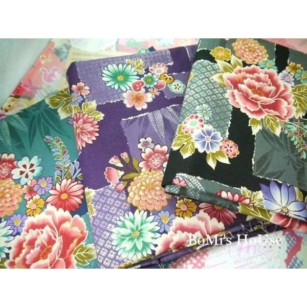 純棉布料~ 和風系列華麗牡丹花布款~一般純棉布~