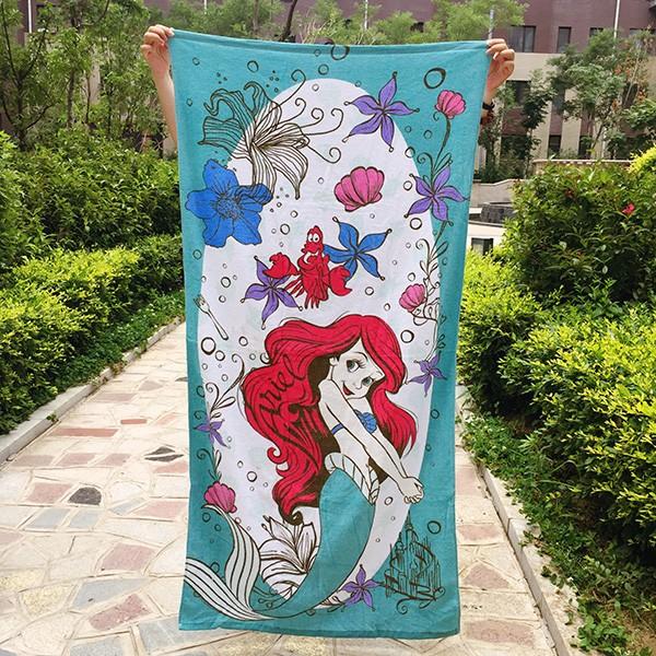 迪士尼美人魚公主系列浴巾沙灘巾毛巾被純棉
