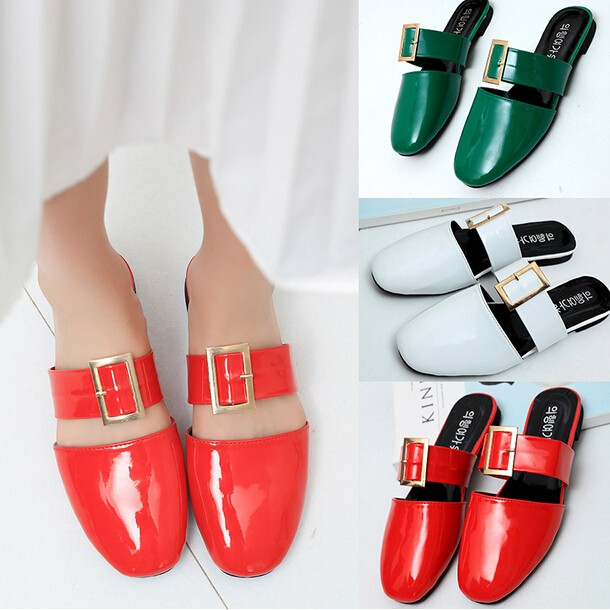 现货预购 欧美女式一字扣带方头女鞋平跟凉鞋中女单鞋智慧