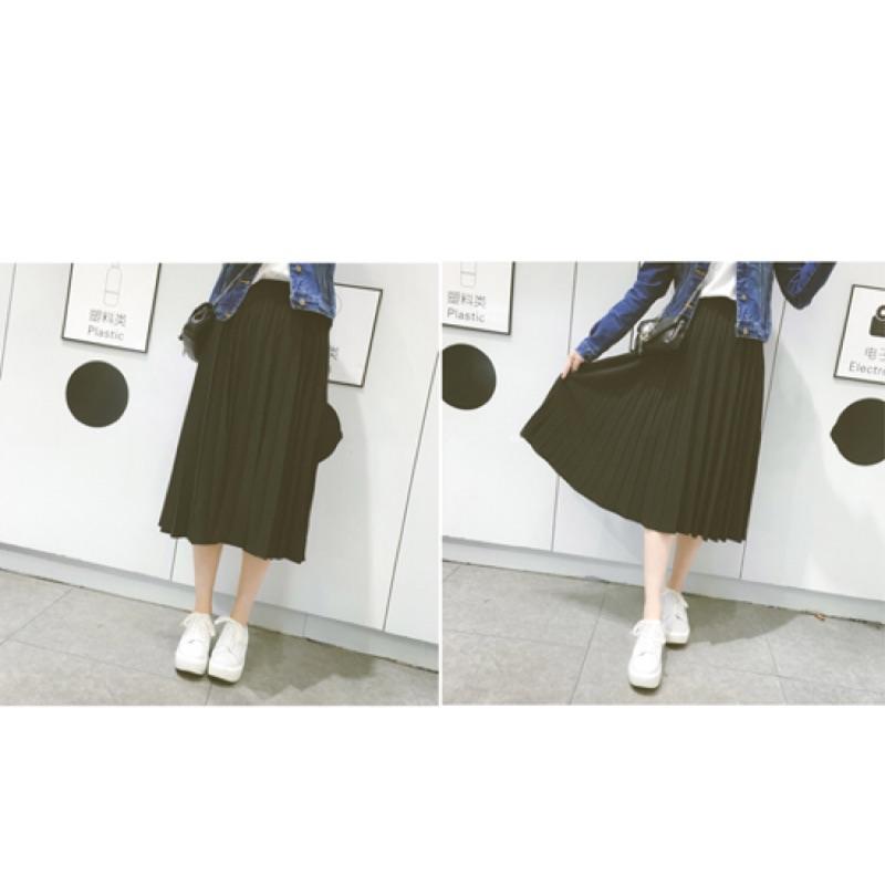 [ ]鬆緊帶雪紡百摺長裙