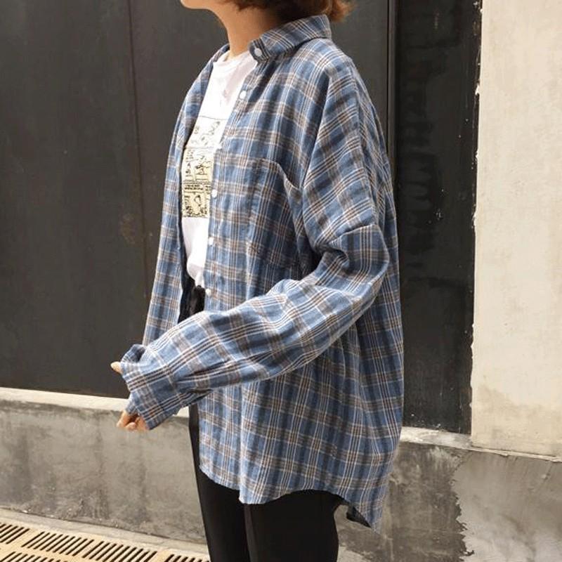 實拍復古格子長袖襯衫韓範學院風簡約上衣外套