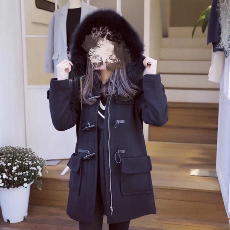 學生牛角釦毛呢大衣女妖精的口袋 厚毛領連帽外套