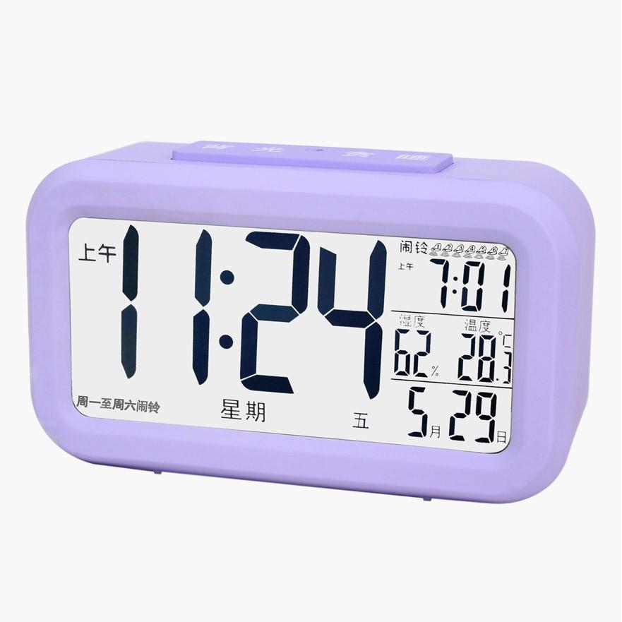LCD 床頭鍾臥室 靜音學生簡約夜光懶人時鍾表溫度電子小鬧鍾7 組