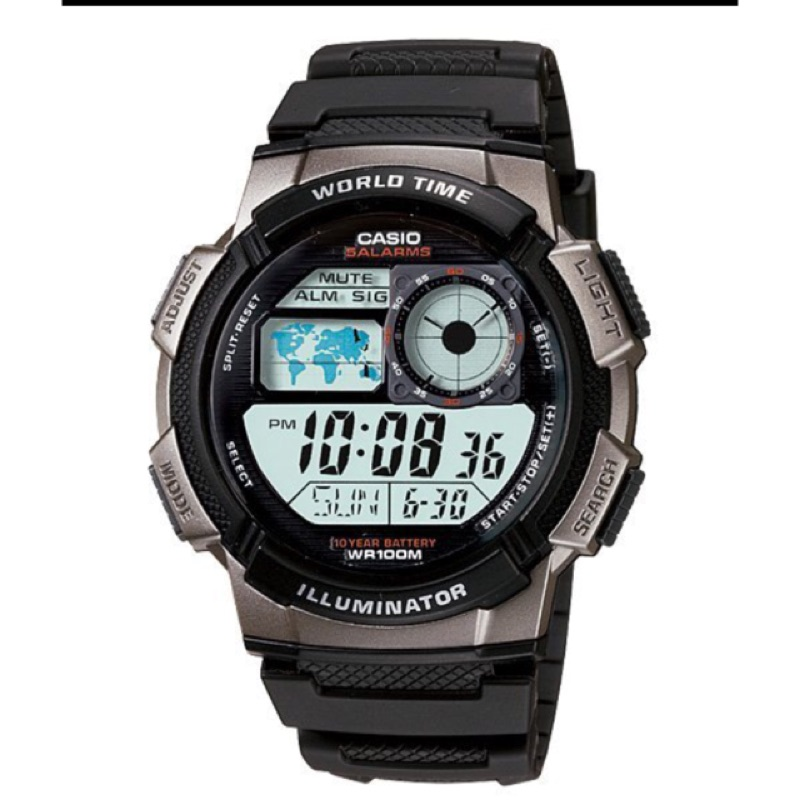CASIO 卡西歐10 年電力電子錶以飛機儀表板為發想概念AE 1000W 1B AE 2