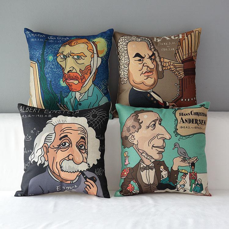 名人愛因斯坦安徒生梵谷巴哈畫家音樂家厚磅棉麻抱枕抱枕套不含枕心藝術枕頭 款 45 45