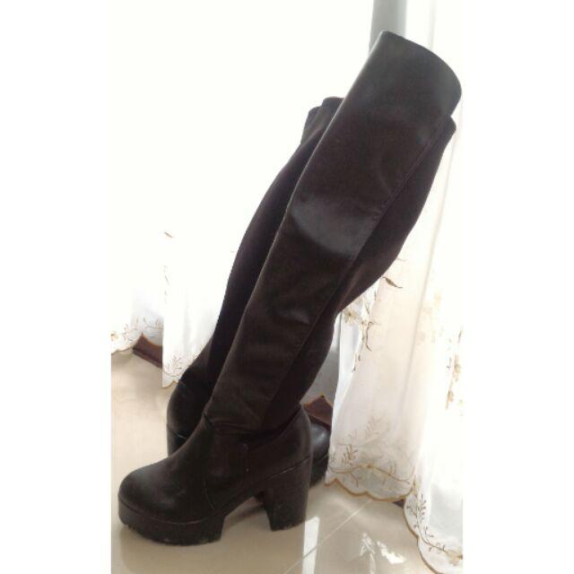 過膝靴長靴顯瘦高筒粗跟防水台騎士靴