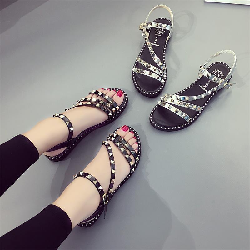 鞋子女夏涼鞋2016 平底學生簡約韓國 鉚釘平跟百搭羅馬鞋潮