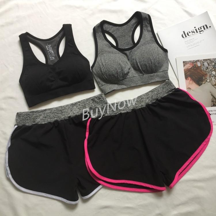 ~ 新品~BuyNow 正韓女生运动两件套装女瑜伽服背心式内衣无痕弹力防走光短裤