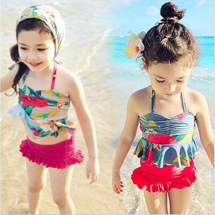 女童泳衣女童分體裙式游泳衣復古碎花寶寶泳裝泳衣