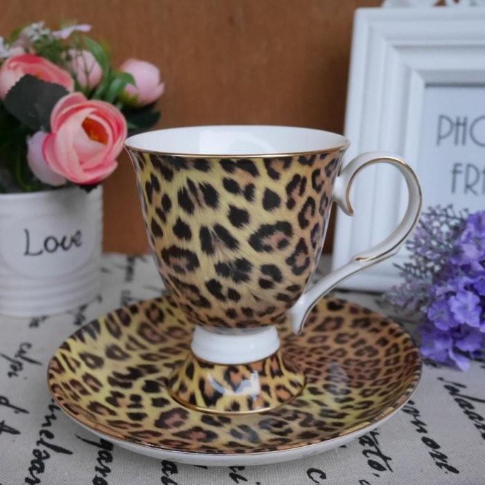 豹紋風單客骨瓷咖啡杯花茶奶茶下午茶骨瓷咖啡杯自用蛋糕烘培送禮奢華貴婦玫瑰