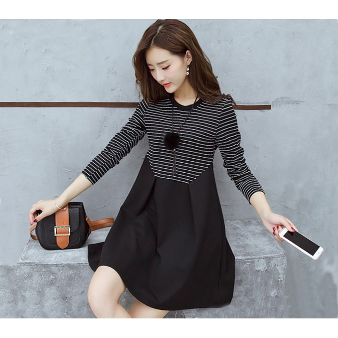 大碼黑白條紋顯瘦A 字裙連衣裙7016