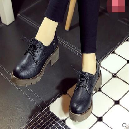 英倫復古女鞋粗跟中跟布洛克小皮鞋學院厚底系帶圓頭單鞋子❤韓潮