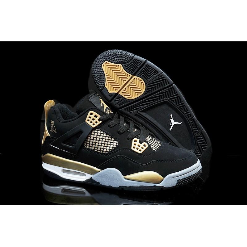 新配色NIKE air Jordan 喬丹AJ4 黑金男鞋男款舒適 潮流籃球鞋Jordan