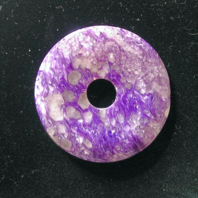 天然紫龍晶水晶平安扣項墜.吊飾.腰佩