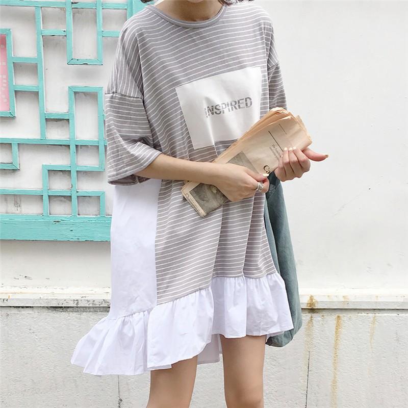 ❤實拍 正韓洋裝不規則條紋拼接寬版連身裙中長款短袖T 恤裙大碼寬鬆裙子休閒