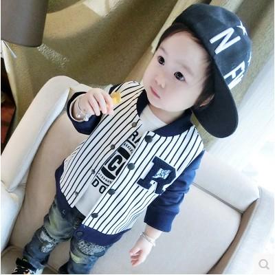 寶寶春秋開衫外套男童圓領嬰兒棒球服兒童上衣秋裝小 0 1 2 3 歲