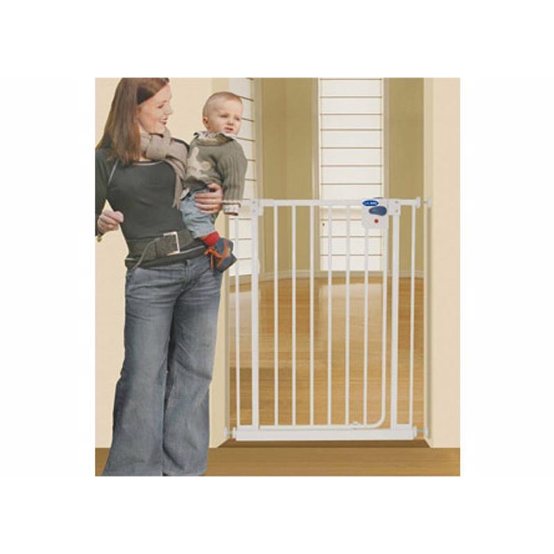 ~美國L A Baby ~加高加寬安全自動上鎖幼兒鐵圍欄門欄寵物柵欄贈兩片延伸件