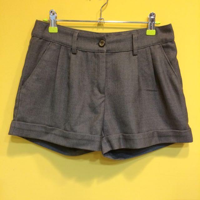 SALE 西裝短褲鐵灰打褶口袋後假口袋