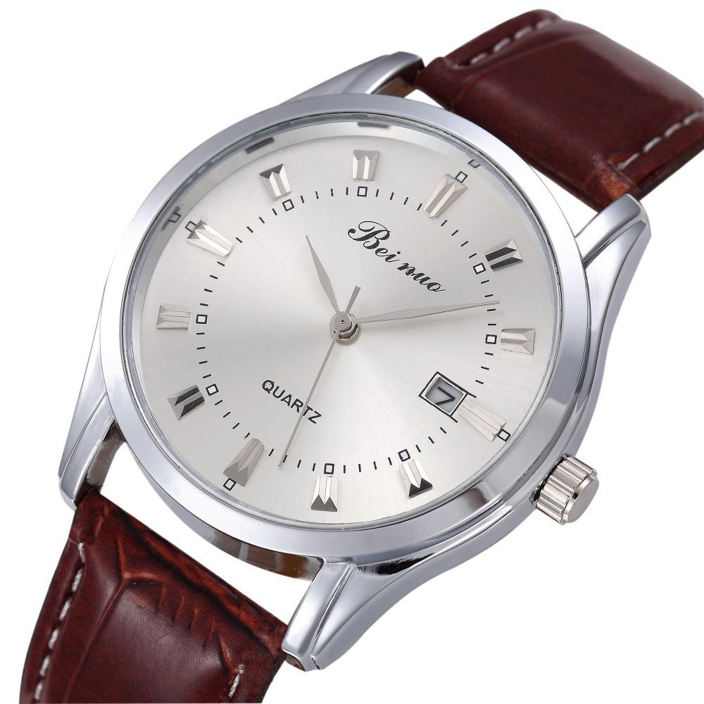 男士商務皮帶男錶學生石英表 潮流防水雙日曆鋼帶腕錶