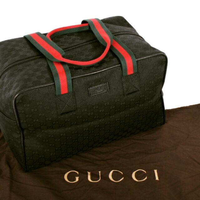 GUCCI 綠紅織帶手提斜旅行袋全黑153240