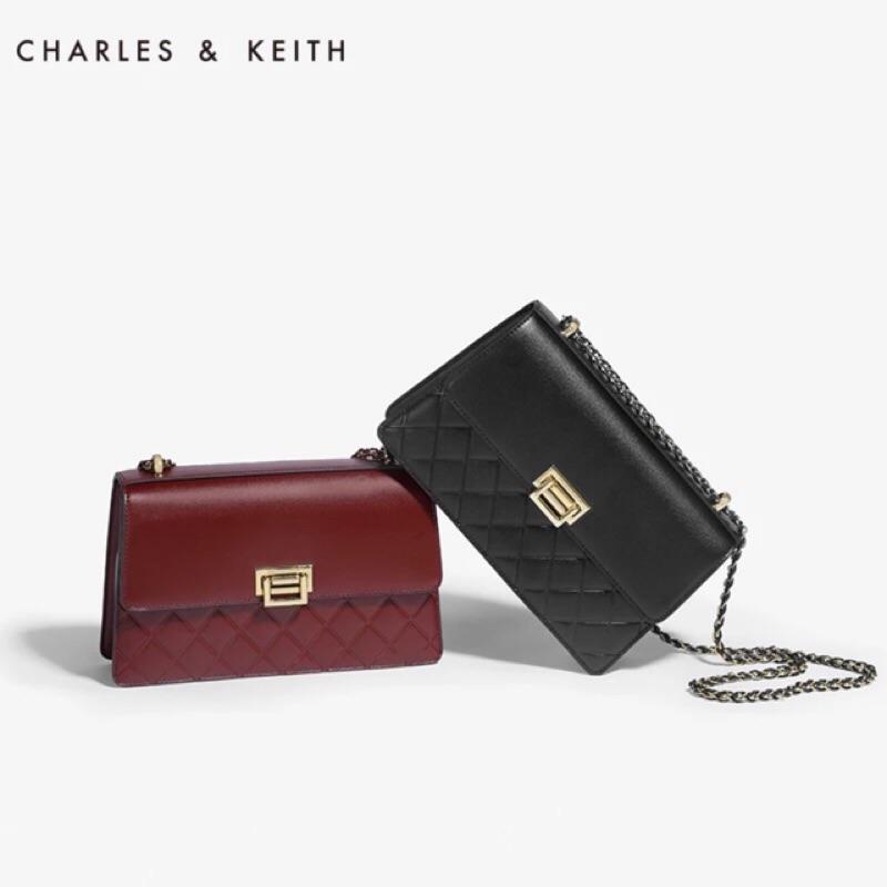 Charles keith  菱格編織鏈條包