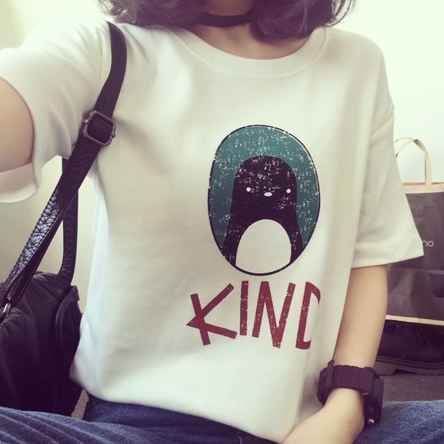 企鵝蛋KIND 字母短袖T 恤T 423 均碼