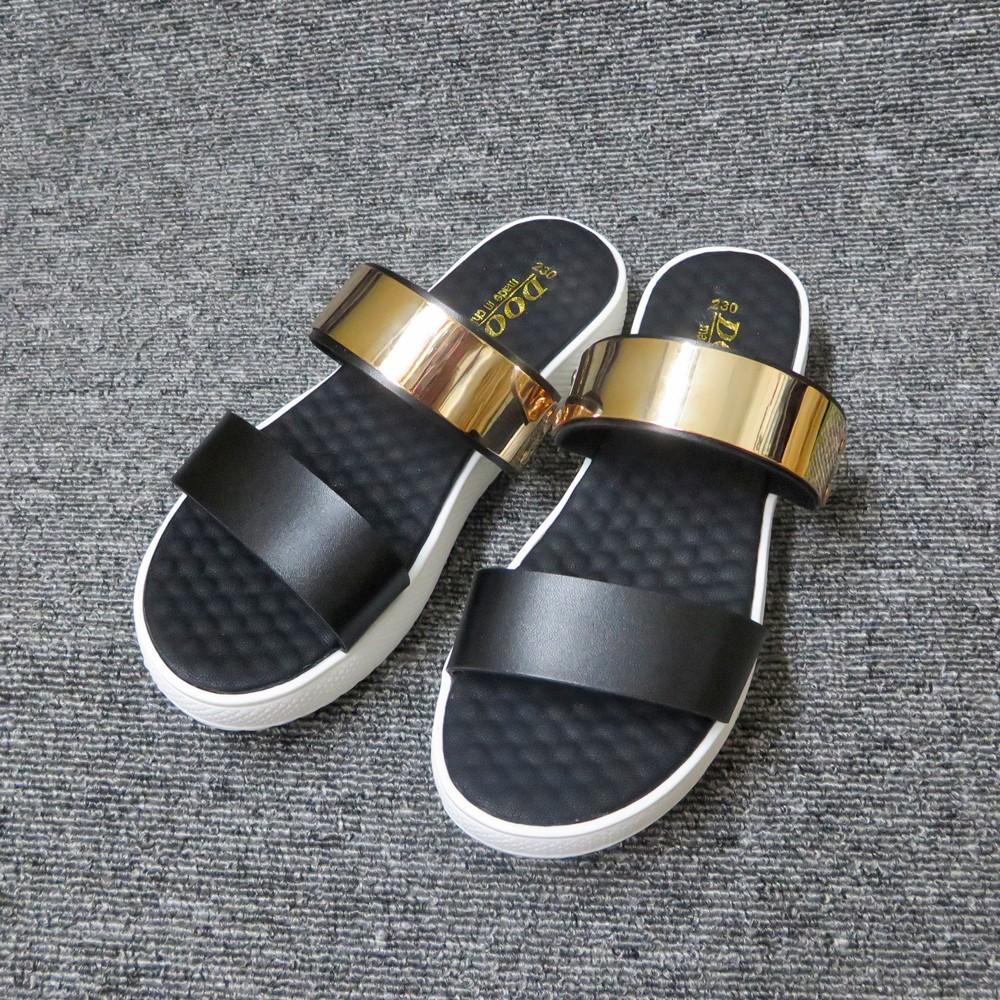 銅片雙帶舒軟乳膠厚底拖鞋黑白