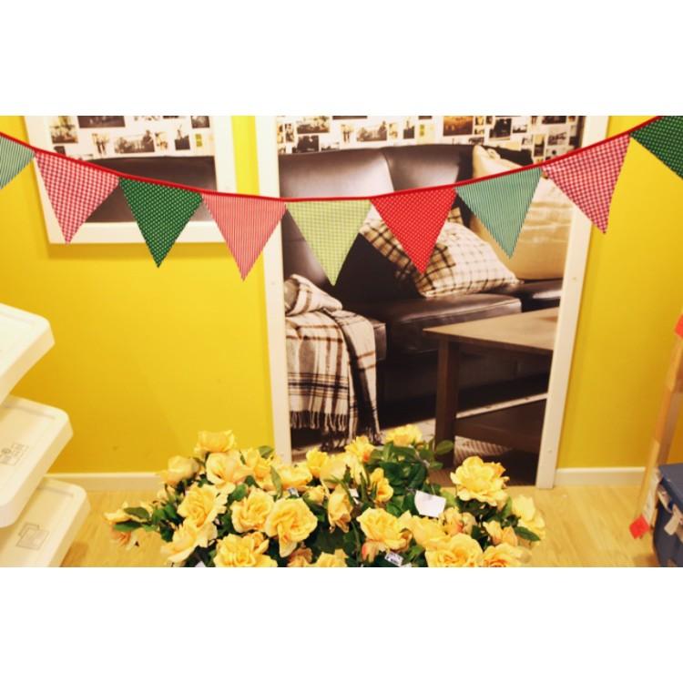 麻子小鋪新店開張沖 出口韓國12 片紅綠三角旗嬰兒房佈置露營戶外野營兒童帳篷裝飾生日派對場