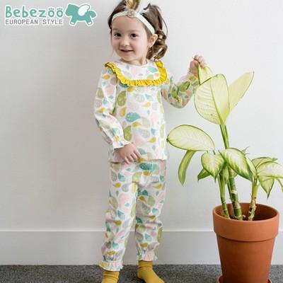 唯唯 韓國 bebezoo 秋款女童水滴花邊家居服上衣長褲兩件套80 110cmZ0062